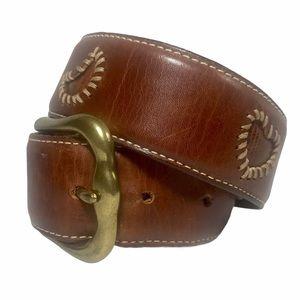 FOSSIL Vintage Brown Leather Belt Heart & Moon